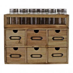 12 Jar Freestanding Spice Rack With Bottles & 6 Drawer Cabinet