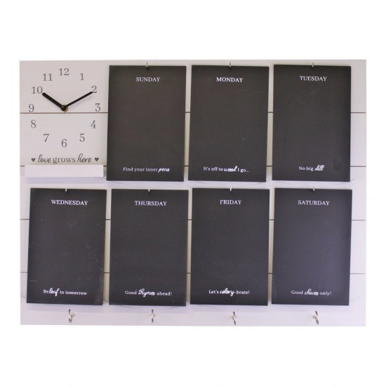 Potting Shed Weekly Reminder Chalkboard With Clock & Hooks White