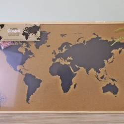 Framed Travel Corkboard Map, 90x60cm