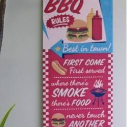Barbecue Rules Metal Wall Sign 15x39cm