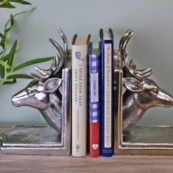 Deer Head Silver Metal Bookends