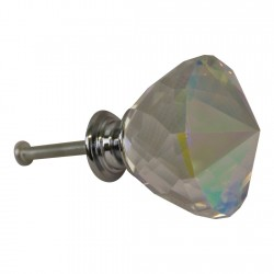 4cm Crystal Effect Doorknobs, Diamond Shaped, set of 4