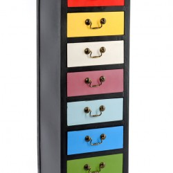 Rainbow Tall Cabinet with 7 Drawers 38 x 26 x 110cm