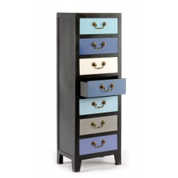 Blue Tall Cabinet with 7 Drawers 38 x 26 x 110cm