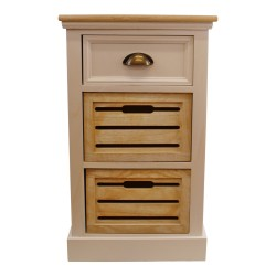 Contemporary Natural & White Chest Of Drawers, 3 Drawers