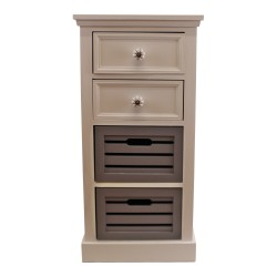 Contemporary Grey & White Chest Of Drawers, 4 Drawers