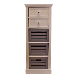 Contemporary Grey & White Chest Of Drawers, 5 Drawers
