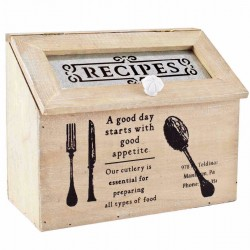 Vintage Printed Recipes Box 25cm