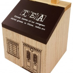Wooden House Tea Caddy