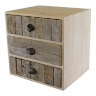 3 Drawer Unit Driftwood Effect Drawers With Pebble Handles