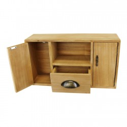Small Wooden Cabinet with Cupboards Drawer and Shelf