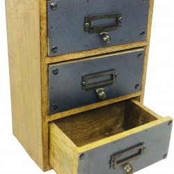 Solid Wood Cabinet With 3 Drawers 28cm