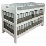 Wooden Storage Bench With 4 Baskets & Cushion 70cm