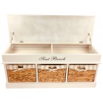 Wood Storage Bench With 4 Baskets & Cushion 105cm