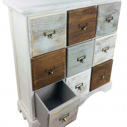 Wood Cabinet With 9 Drawers 64cm