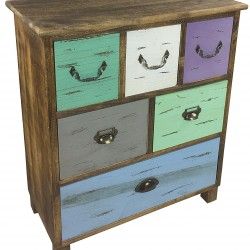 Wooden Storage Cabinet With 6 Drawers 69cm