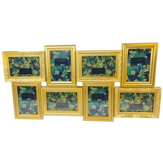 8 Multi Gold Photo Frames 69x36cm