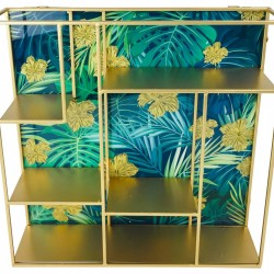 Glass Back Shelf Unit in Blue 40cm