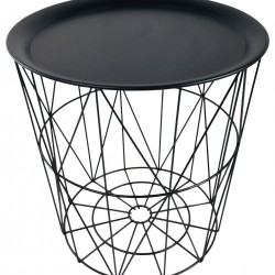 Geometric Black Wire Circular Tray Table