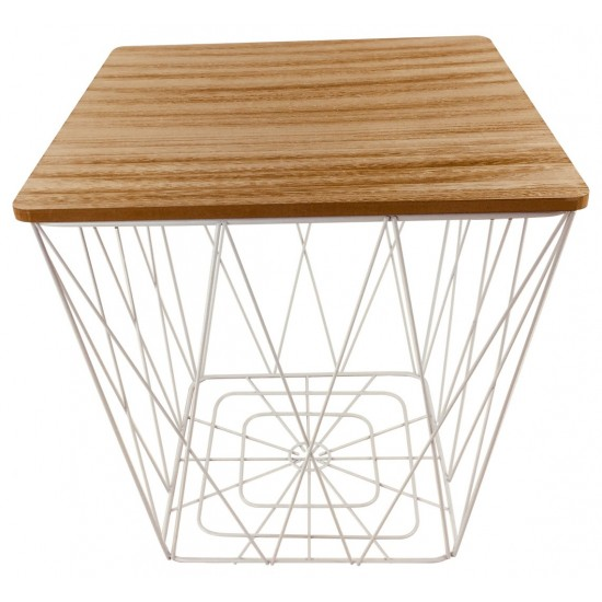 Geometric White Wire Square Side Table