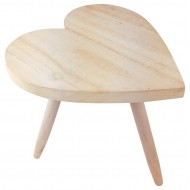 Natural Wooden Heart Stool 30cm