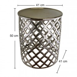Decorative Silver Metal Side Table Lattice design