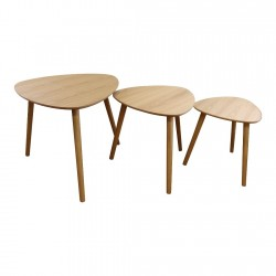 Set of 3 Oval Nest Of Tables, Wooden Finish