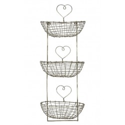 Metal 3 Tier Wall Storage Unit with Hearts