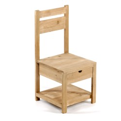 Natural Wood Child's Chair with Drawer 28 X 28 X 62cm