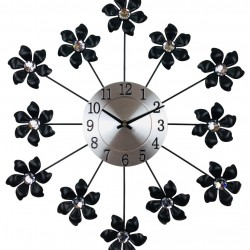 Black Metal Flower Wall Clock 49cm