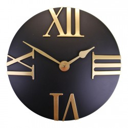 Black And Gold Wall Clock, 30cm