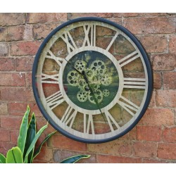 Black and Natural Moving Gear Clock 57cm