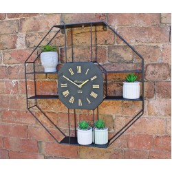 Black Metal Clock With Shelving 53cm