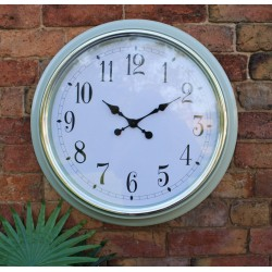 Large Silver Rimmed Wall Clock Green 56cm