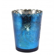 Large Blue Glass Candleholder/Planter