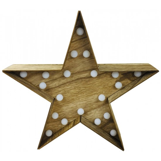 Wooden Star With LED Lights 30cm