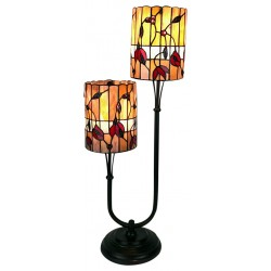 Twin Stem Tiffany Lamp Orange / Red 67cm
