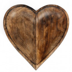 Wooden Heart Bowl, 30cm