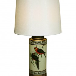 Ceramic Lamp, Tropical Bird Design, Cream Shade