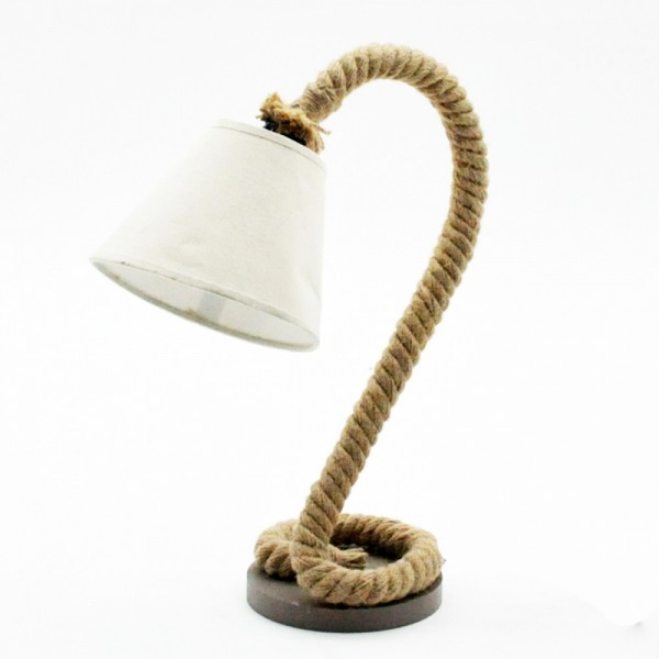 Curved Rope Table Lamp And Shade