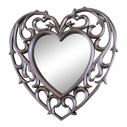 Set of 3 Decorative Silver Filigree Heart Shaped Wall Mounted Mirrors