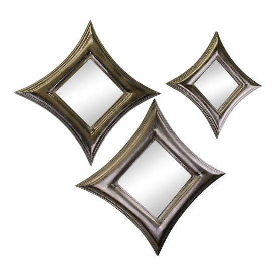 Set Of 3 Silver Metal, Square Mirrors