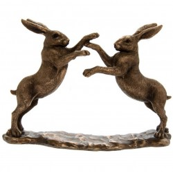 Bronzed Boxing Hares 22cm