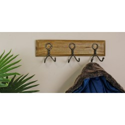 3 Piece Double Metal Hooks On Wooden Base