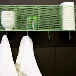 4  Basket and Hook Wall Unit Green