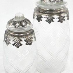 Large Glass And Metal Jar With Lid