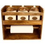Kitchen Roll Holder With 3 Jars