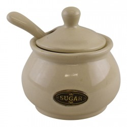 Country Cottage Cream Ceramic Sugar Bowl With Lid & Spoon