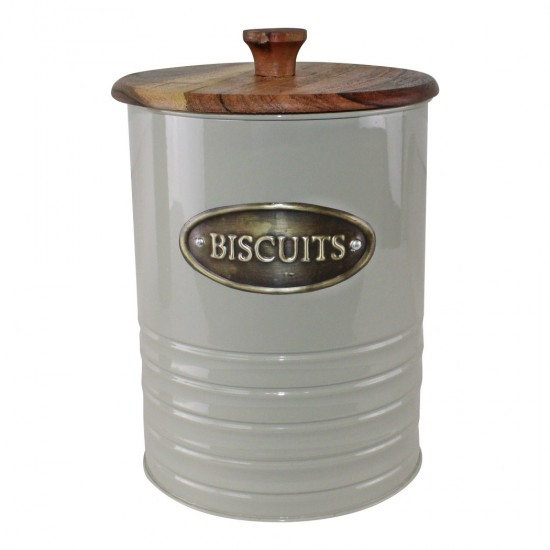 Metal and Acacia Wood Biscuit Tin, 19x15cm