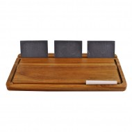 Acacia Wood Cheese Board With Slate Name Plaques